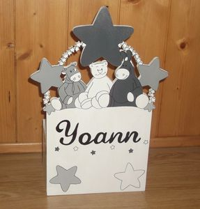 Tirelire en bois décorative poudre d'étoiles pour enfant