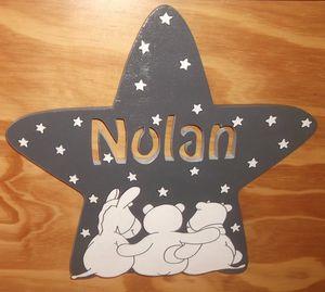Plaque de porte poudre d'étoiles en bois