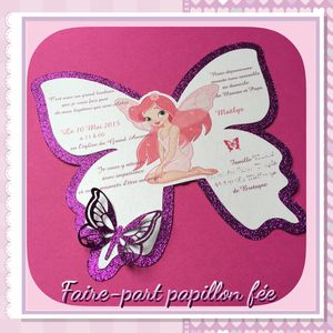 Faire-part papillon féérique Baptême fille