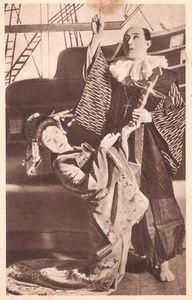 Drame chrétien joué à Tokyo. Recto de la carte du 5 décembre (1945)