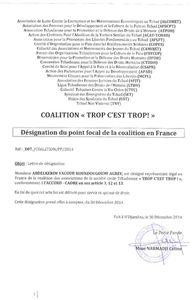 Un nouveau répresentant de la coalition ''Trop c'est trop'' en France