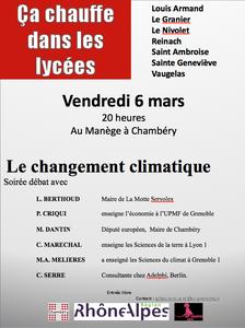 Ce vendredi 6 mars : les lycéens chambériens et le climat…