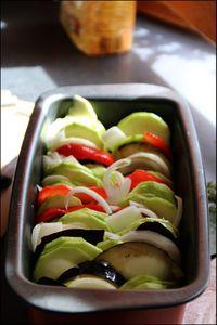 Tian d'aubergine, courgettes, tomates.
