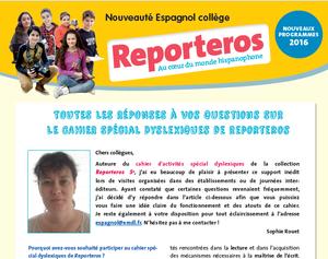 Reporteros 5ème: Cahier d'activités pour les élèves dyslexiques