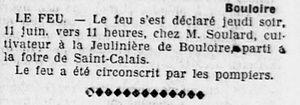 Incendie chez mon arrière-grand-père Ernest SOULARD le 11 juin1914 à Bouloire (72)