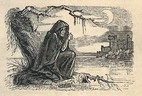 Banshee, illustration de W.H. Brooke pour les Fairy Legends and Traditions of the South of Ireland de Thomas Crofton Croker, 1825.
