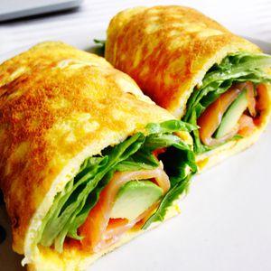 Omelette wrap saumon, avocat et farine de lupin