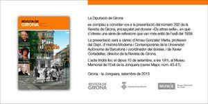 la revue de Gérone présente son n° sur les exils,le 10 sept. à 19h, au musée de l'exil, MUME de La Jonquera