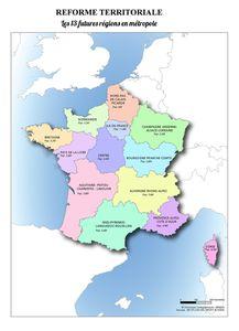 Carte de France des nouvelles Régions