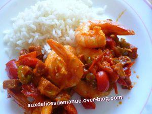 crevettes et poivron au chorizo -LIGHT-