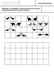 dinosaures, repérage sur quadrillage