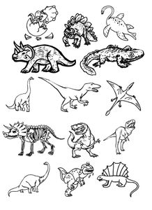 dinosaures, banque images, 2