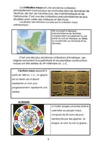 Les mayas, pages documentaire 1, 2, 3