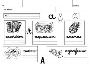 alphabet, écriture de mots commençant par la lettre a
