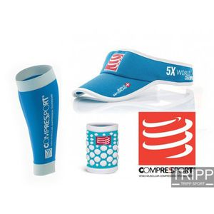 COMPRESSPORT - NOEL : Manchon de compression R2, visière et wrist band