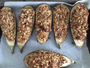 Aubergines farcies aux 3 céréales