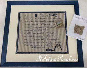 Bordo in lino per un quadro, con una scritta dedicata alle ricamatrici