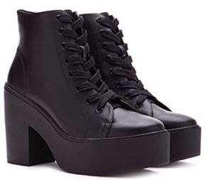 FOREVER 21 Lace-Up Platform Booties