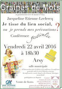 22 avril 2016 à 18h30 à Arsy, conférence gesticulée