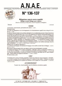 ANAE N° 136/137 - Bilinguisme - Aspects neuro-cognitifs