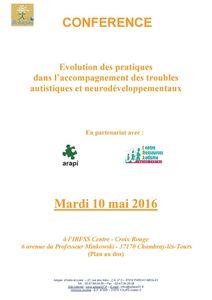 Evolution des pratiques dans l'accompagnement des troubles autistiques et neurodéveloppementaux - 10 mai 2016