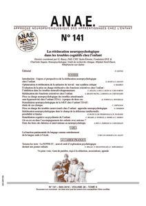 ANAE N° 141 - La rééducation neuropsychologique chez l'enfant