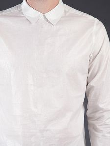 white back buttoned shirt, front view