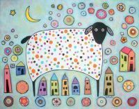 Sheep houses moon