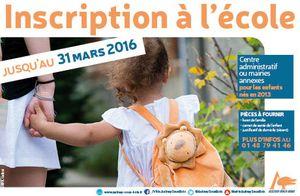 Inscriptions scolaires pour la rentrée 2016 - 2017 à Aulnay-sous-Bois jusqu'au 31 mars