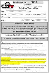 Bulletin d'inscription randonnée d'Odos