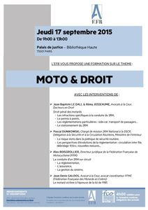 MOTO &amp&#x3B; DROIT : conférence du 17 septembre 2015 - Paris