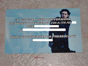 Carte invitation anniversaire Star Wars
