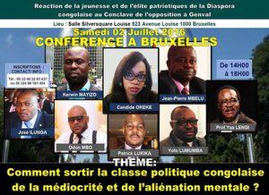 Réaction de la jeunesse et de l'élite patriotiques de la Diaspora congolaise au conclave de l'opposition à Genval