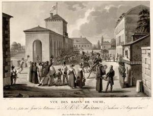 Vue des bains de Vichy prise le 12 juillet 1816, jour de l'arrivée de S. A. R. Madame, Duchesse d'Angoulême