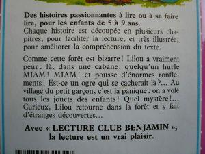 Livres enfants Lecture Club Benjamin