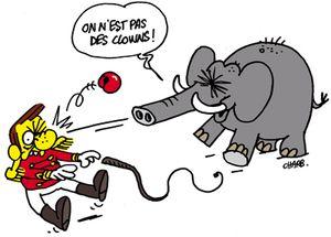 """C'est l'élephant qui le dit: """"On est pas des clowns!"""""""