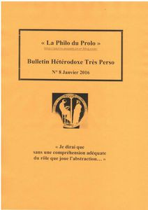 « La Philo du Prolo » N° 8 Janvier 2016. Du rôle de l'abstraction…Bulletin Hétérodoxe Très Perso.