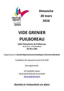 Vide grenier le 20 Mars 2016 Salle polyvalente de Puilboreau