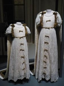 Dresses worn by Princesses Elizabeth and Margaret to the coronation of their parents.