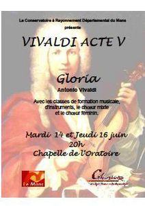 Mardi 14 et Jeudi 16 juin – 19h – Chapelle de l'Oratoire  Gloria de Vivaldi
