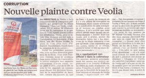 Le Parisien 28 mars 2016 : Corruption : Nouvelle plainte contre Veolia
