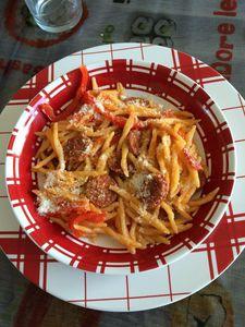 One pot pasta chorizo, tomates et poivrons