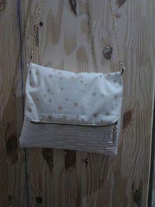 Petit sac en simili cuir blanc et coton étoilé