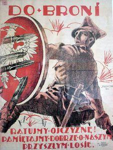 allégorie de la Pologne se défendant contre les armes bolchéviques