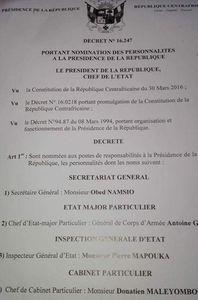 Liste des membres du cabinet Présidentiel