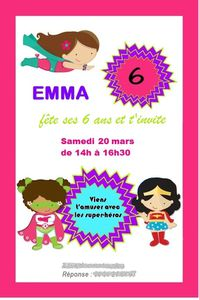 Carte d'invitation anniversaire Super Héros
