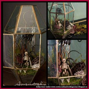 Turn An Old Glass Light Fixture Into A Halloween Terrarium
