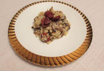 Risotto au chorizo & champignons de paris