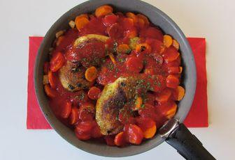 Mijoté de poulet au chorizo & carottes