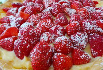 Tarte aux fraises / crème pâtissières au basilic
